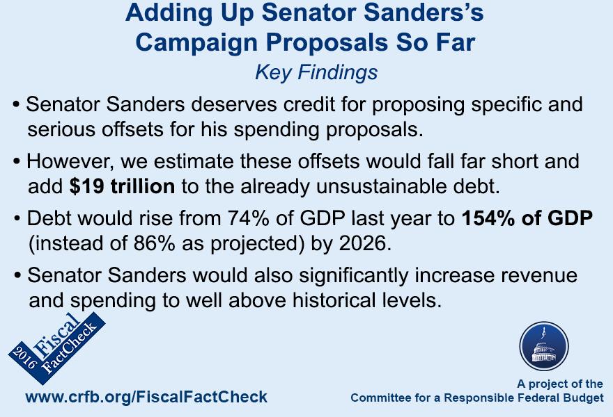 Adding Up Senator Sanderss Campaign Proposals So Far Committee